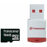 Карта памяти Transcend microSDHC 16GB Class 10 (с кардридером RDP3) (TS16GUSDHC10-P3)