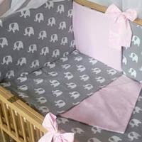 """Детский постельный комплект """"Elephants / pink"""" (без балдахина)"""