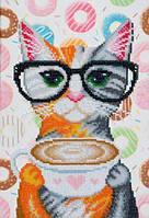 Схема для вышивки бисером Т-0756 Кот с чашкой