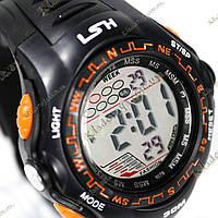 Электронные спортивные часы LSH №1078 (черно-оранжевые), фото 1