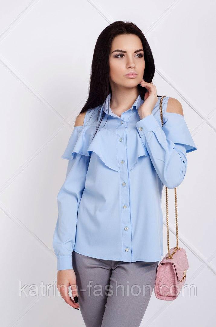 Женская красивая легкая блузочка с воланом (4 цвета)