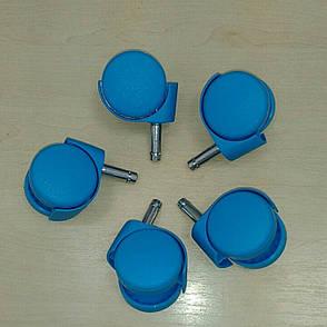 Колеса для офисного кресла цветные 10мм. (5шт) СИНИЙ, фото 2
