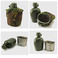 Армейская фляга с металлической кружкой в термочехле. Голландия, оригинал.