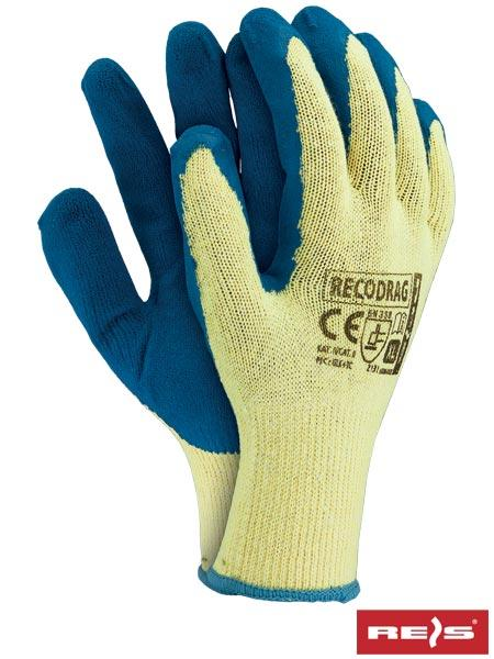 Перчатки RECODRAG YN трикотажные / хлопчатобумажные с латексным покрытием - REIS, синего цвета, размер 10