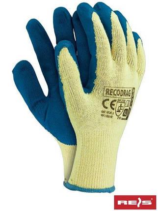 Перчатки RECODRAG YN трикотажные / хлопчатобумажные с латексным покрытием - REIS, синего цвета, размер 10, фото 2