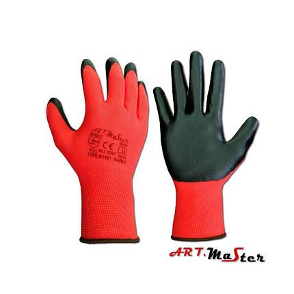 Перчатки защитные Red Nit с нитриловимм покрытием - ARTMAS, красно-черного цвета р.10, фото 2