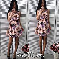 Женское стильное платье-блузон с принтом (8 цветов)