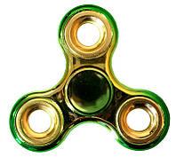 Спиннер Tri Fidget (градиент зеленый-золото металлик) Игрушка антистресс