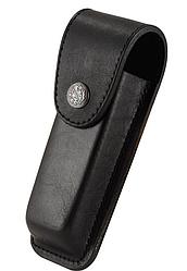 Чехол для складного ножа кожаный, черный, качественный-L (ЧЁРН)-B НА КНОПКЕ