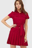 Літнє коротке бордове плаття-сорочка Lara