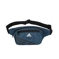 Сумка на пояс Adidas темно-синяя с белым логотипом