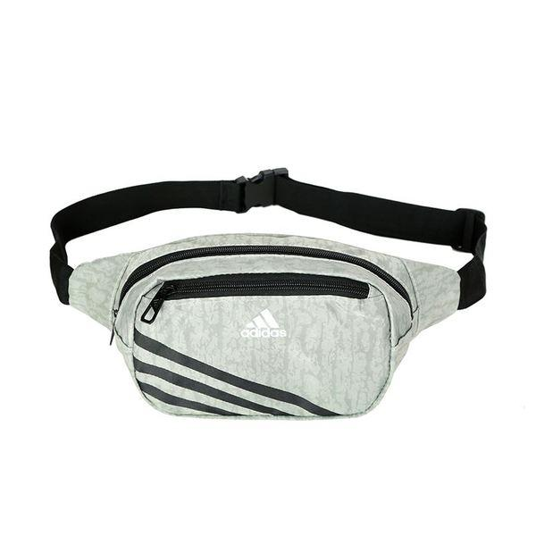 Сумка на пояс Adidas серая с белым логотипом (реплика)