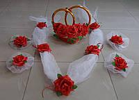 Свадебный комплект украшений для авто (№ 4) красный