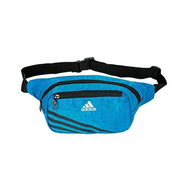 Сумка на пояс Adidas голубая с белым логотипом (реплика)