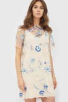 Бежеве літнє плаття прикрашене сіткою з вишивкою Laura