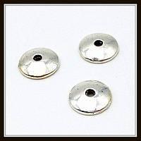 """Обниматели для бусин бали """"серебро"""" (d 0,8 см, h 0,2) 40 шт в уп."""