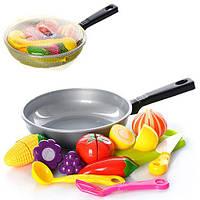 Продукты 685  на липучке, сковорода, досточка,ложка, лопатка, в сетке,31-19-4см
