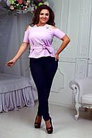 Эксклюзивный летний костюм для стильных женщин, блузка с вырезами и кружевом и брюки, батал большие размеры