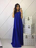 Эффектное платье макси синего цвета