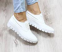 Кожаные туфли лоферы белого цвета