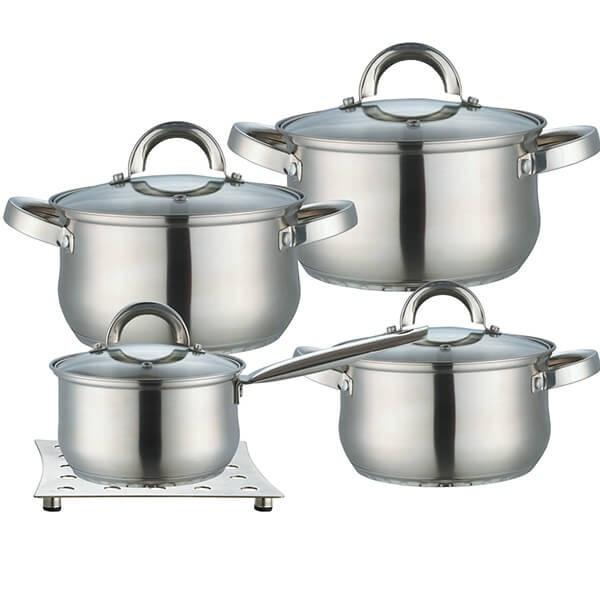 Набор посуды Maestro 3 кастрюли, ковш + подставка под горячее