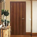 Двери межкомнатные Омис  гладкая глухая экошпон, цвет орех, фото 2