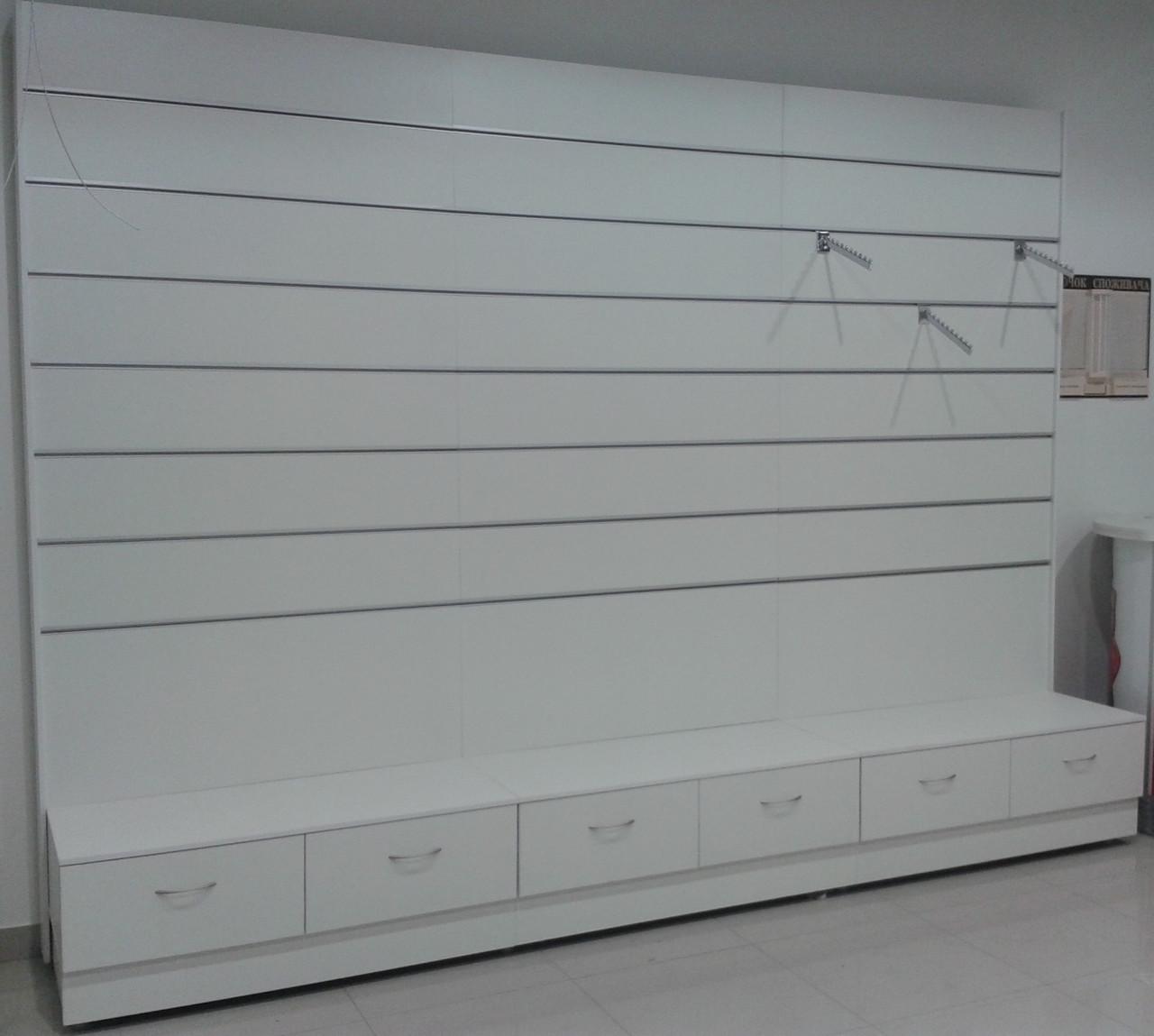 Торговая мебель. Стеллаж с экономпанелью и выдвижными ящиками . Цена без вставок.