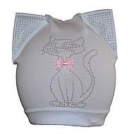 Детская  демисезонная шапка с кошечкой.