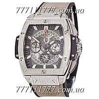 Часы мужские наручные Hublot Spirit of Big Bang Titanium Pave Gray-Silver-Black