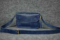 Женская кожаная сумка через плечо | Синий Винтаж, фото 1