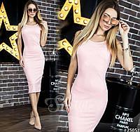 Платье-футляр с открытой спинкой, сзади на талии бант.