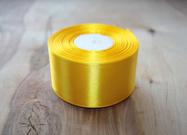 Лента атласная желтая 5 см, моток 33 м., фото 2