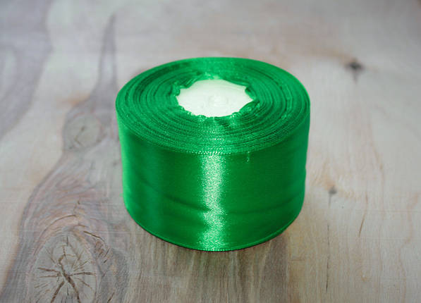 Лента атласная зеленая 5 см, моток 33 м., фото 2