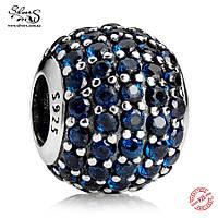 """Серебряная подвеска-шарм Пандора (Pandora) """"Синий шар. Паве"""" для браслета"""