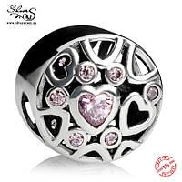 """Серебряная подвеска-шарм Пандора (Pandora) """"Любящие сердца"""" для браслета"""