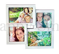 Семейная фоторамка на 4 фото, белая / подарок маме