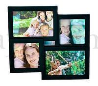 Семейная рамка для 4 фотографий, черная / подарок папе