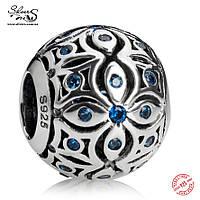 """Серебряная подвеска-шарм Пандора (Pandora) """"Синий цветок 895"""" для браслета"""