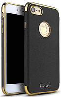 Ipaky Chrome connector + Leather Back case iPhone 7 Black/Gold