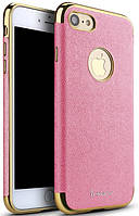 Ipaky Chrome connector + Leather Back case iPhone 7 Pink/Gold