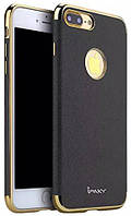 Ipaky Chrome connector + Leather Back case iPhone 7 Plus Black/Gold