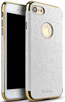 Ipaky Chrome connector + Leather Back case iPhone 7 Plus White/Gold
