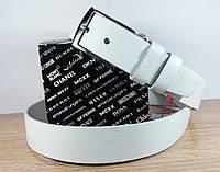 Женский кожаный ремень белого цвета 130 см. - 3,5 см.