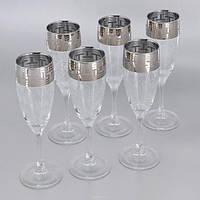 """Набор бокалов 170 мл для шампанского GE01-1687 """"Эдем"""" рисунок """"Греческий узор""""  6 шт"""