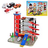 Детский гараж 0845 на 5 уровней, 4 машинки и вертолет