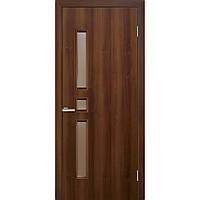 Двери межкомнатные Омис Комфорт экошпон остекленная,цвет орех