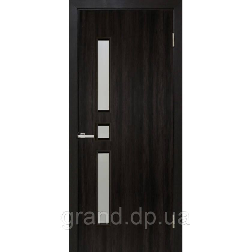 """Дверь межкомнатная """"Комфорт экошпон"""" остекленная, цвет  венге"""