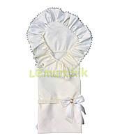 """Конверт-плед для новорожденных легкий на выписку и в коляску """"Мечта"""" молочный"""