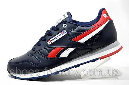 Мужские кроссовки Reebok Classic Leather, Dark Blue\Red, фото 2