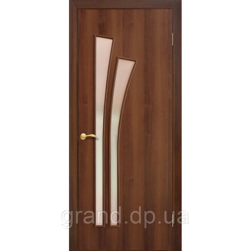 Двери межкомнатные Омис Пальма экошпон остекленная, цвет орех